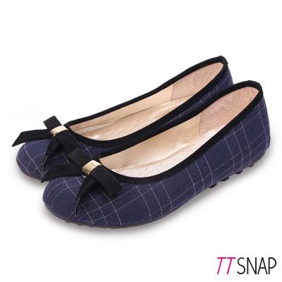 TTSNAP娃娃鞋-MIT英倫格紋寬帶蝴蝶結平底鞋 藍