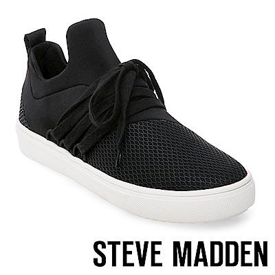 STEVE MADDEN-LANCER 網布拼接綁帶休閒鞋-黑色