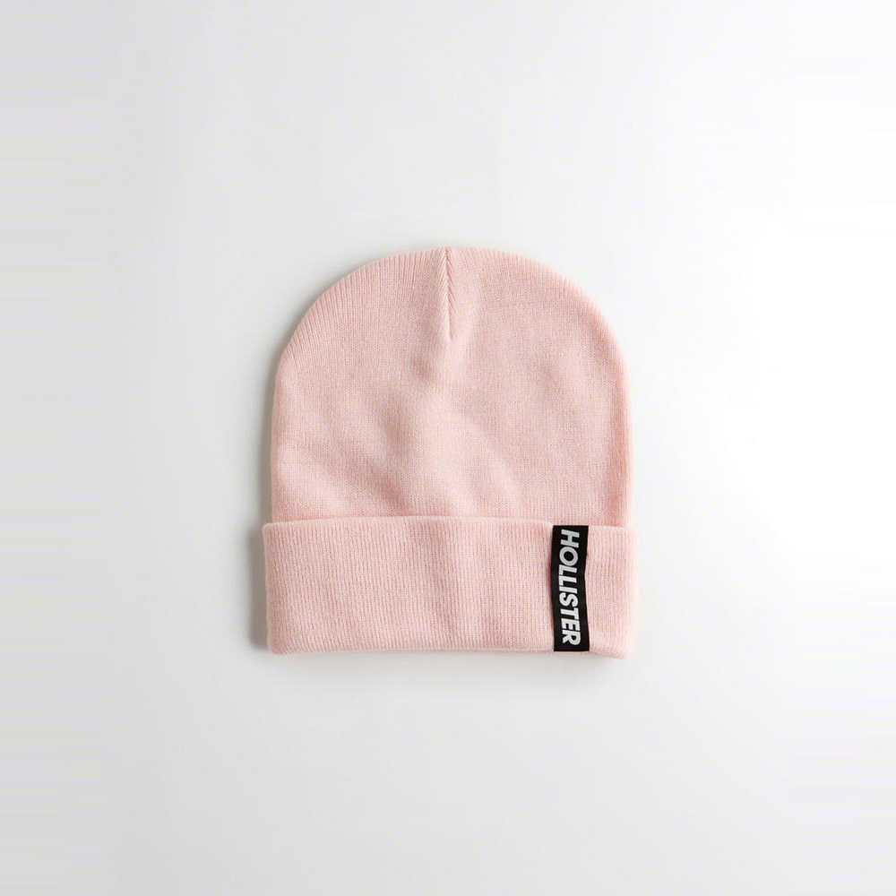 海鷗 Hollister 文字設計舒適保暖毛帽-粉色