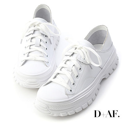D+AF 舒活日常.可後踩真皮綁帶休閒鞋*白