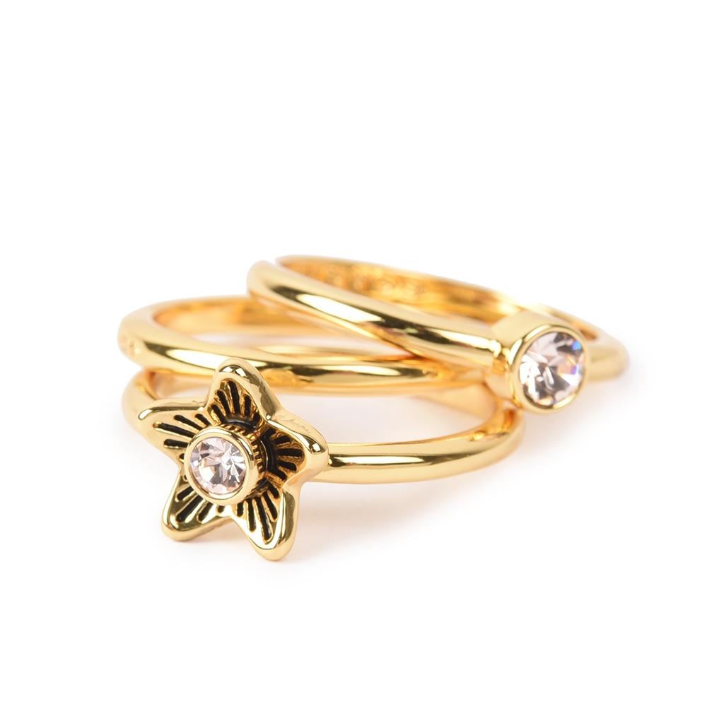 COACH 花花造型亮鑽三環戒指(三件組)-金色