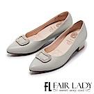 Fair Lady Cube Chic塊時尚 優雅名媛水鑽尖頭粗跟鞋 經典灰
