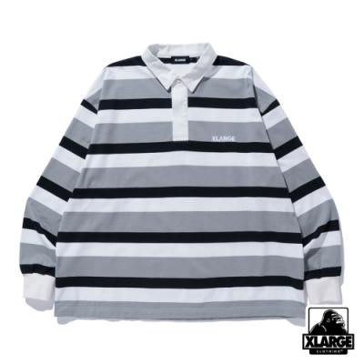 XLARGE RUGBY STRIPE SHIRT條紋長袖POLO衫-灰