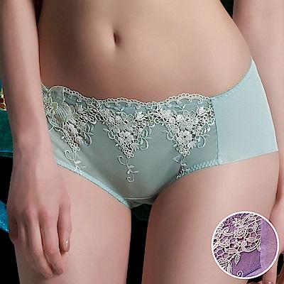 莎露-禮物系列M-2L中低腰平口內褲(紫)性感蕾絲