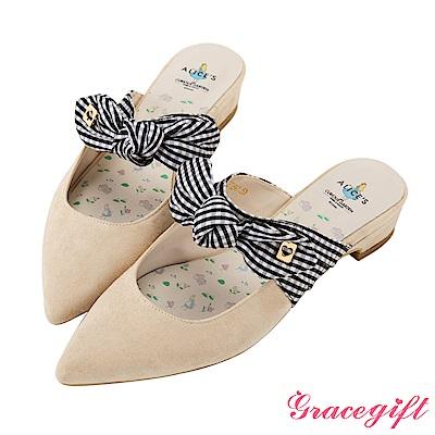 Disney collection by grace gift蝴蝶結綁帶穆勒鞋 杏