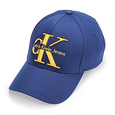 Calvin Klein Jeans 經典刺繡大LOGO棒球帽-深藍色