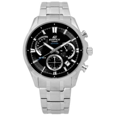 EDIFICE CASIO 卡西歐三針三眼不鏽鋼手錶-黑色/42mm