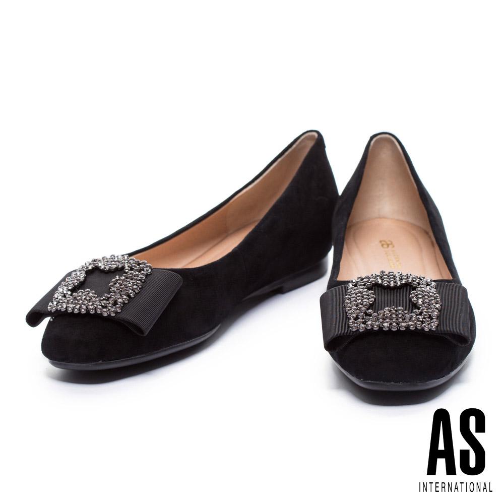 平底鞋 AS 優雅時尚寬帶造型水鑽飾釦點綴羊麂皮內增高平底鞋-黑