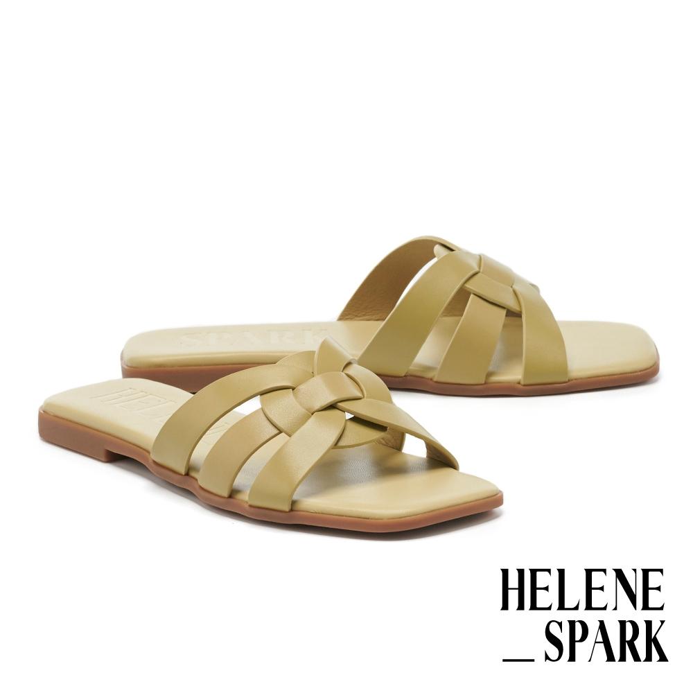拖鞋 HELENE SPARK 簡約隨興多條帶牛皮方頭平底拖鞋-綠