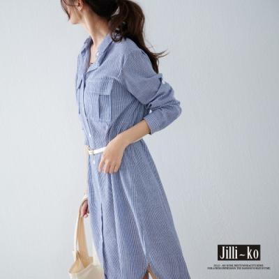 JILLI-KO 經典有型全開扣長版襯衫- 條紋藍/格紋紅