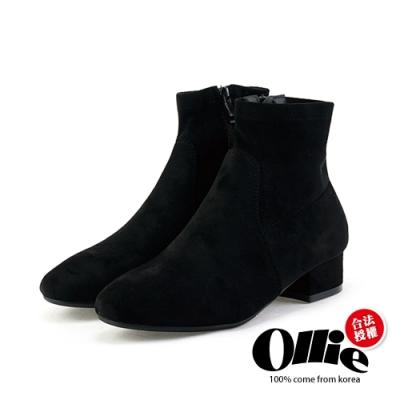 Aviator韓國空運-絨面女神厚粗跟短靴-ollie預購
