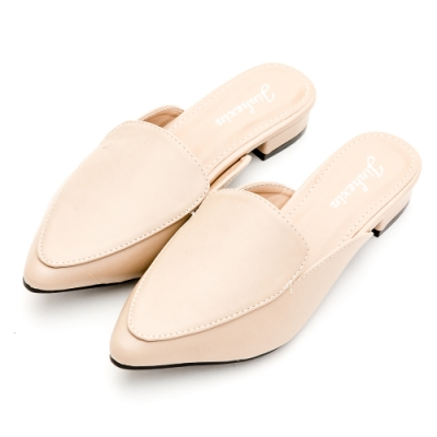 River-Moon穆勒鞋-中大尺碼都會素面低跟尖頭鞋-米杏