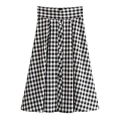 高腰格紋排扣裙 TATA