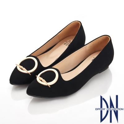 DN 細緻典雅 特殊圓形飾釦尖頭包鞋-黑