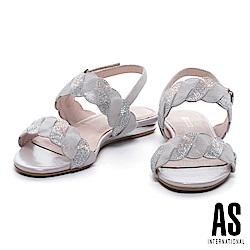 涼鞋 AS 麻花造型漸層水鑽羊皮粗低跟涼鞋-銀