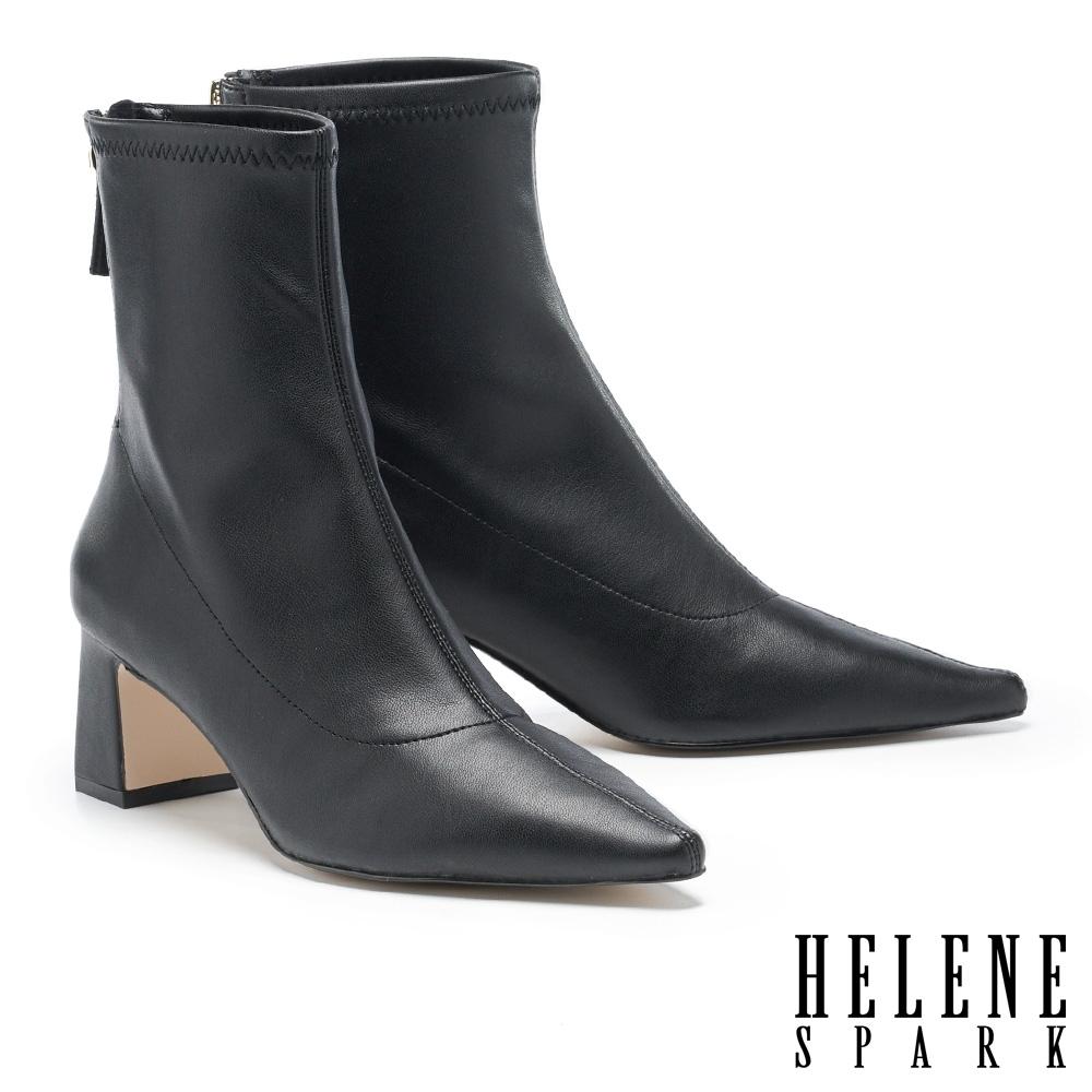 短靴 HELENE SPARK 極簡時尚彈力羊紋皮革尖頭粗高跟短靴-黑