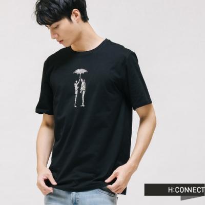 H:CONNECT 韓國品牌 男裝 -線條感圖印T-shirt-黑