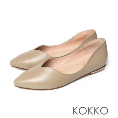 KOKKO無著感彎折方頭曲線羊皮平底鞋中性灰