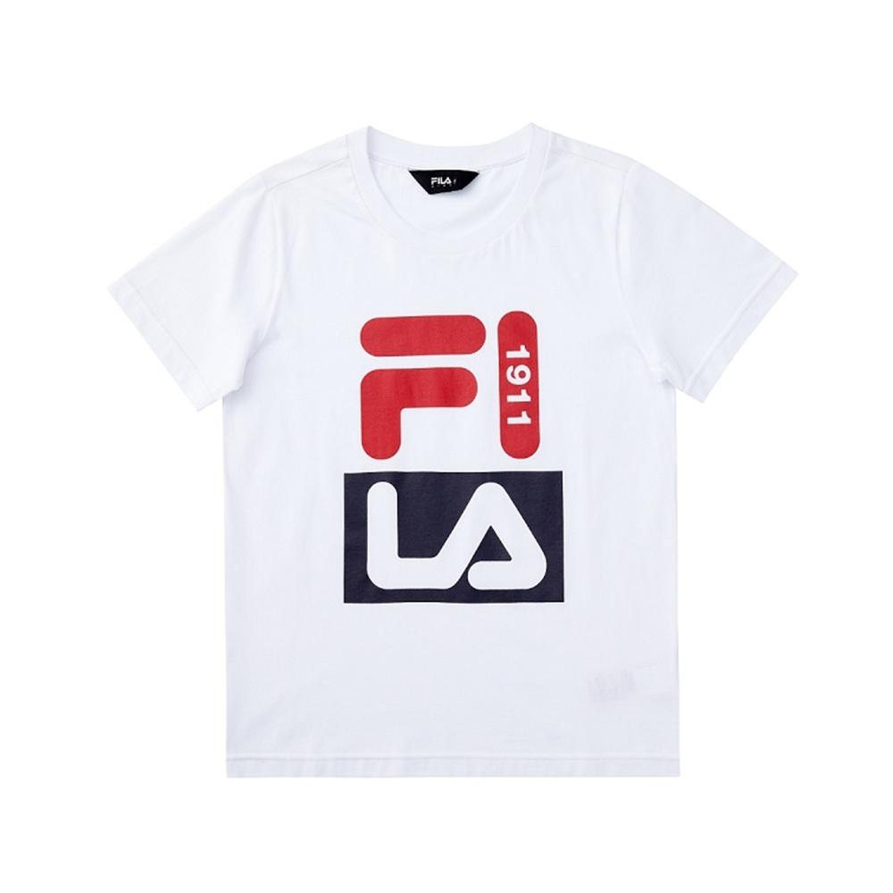 FILA KIDS 童短袖圓領上衣-白色 1TEV-4901-WT