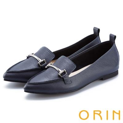 ORIN 優雅品味 金屬飾釦牛皮平底樂福鞋-深藍