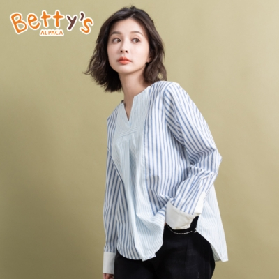 betty's貝蒂思 小V領條紋休閒上衣(藍色條紋)
