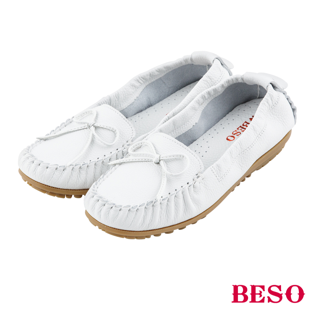 BESO 棉花糖女孩 蝴蝶結鬆緊帶全真皮莫卡辛鞋~白
