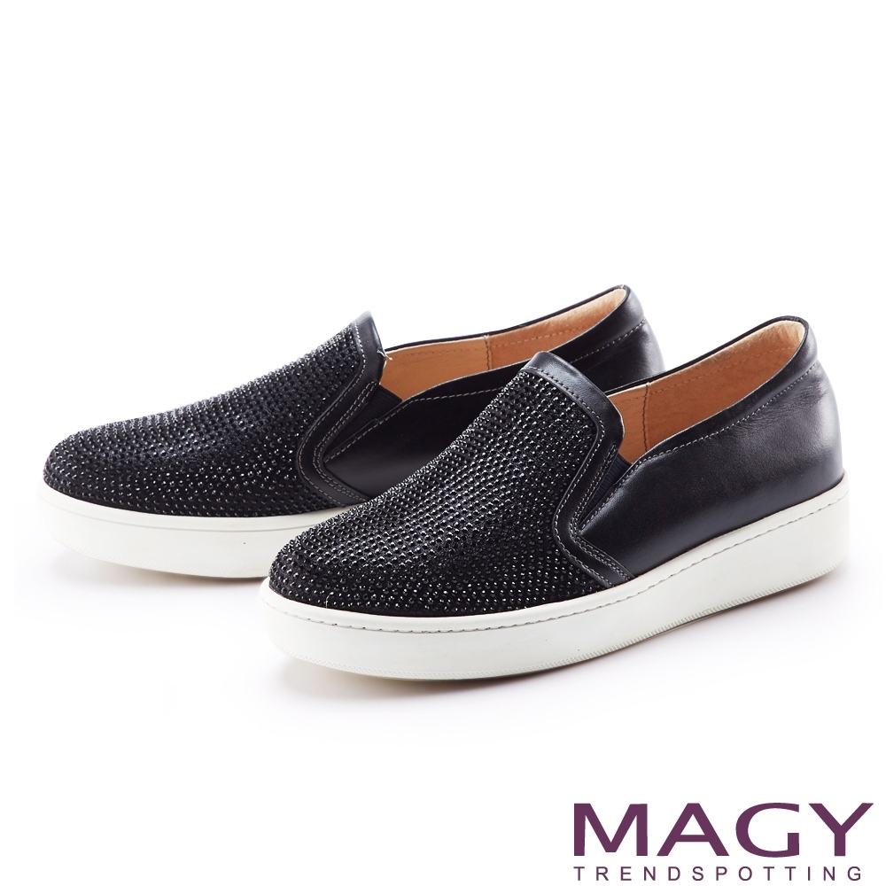 MAGY 耀眼燙鑽真皮厚底 女 休閒鞋 黑色