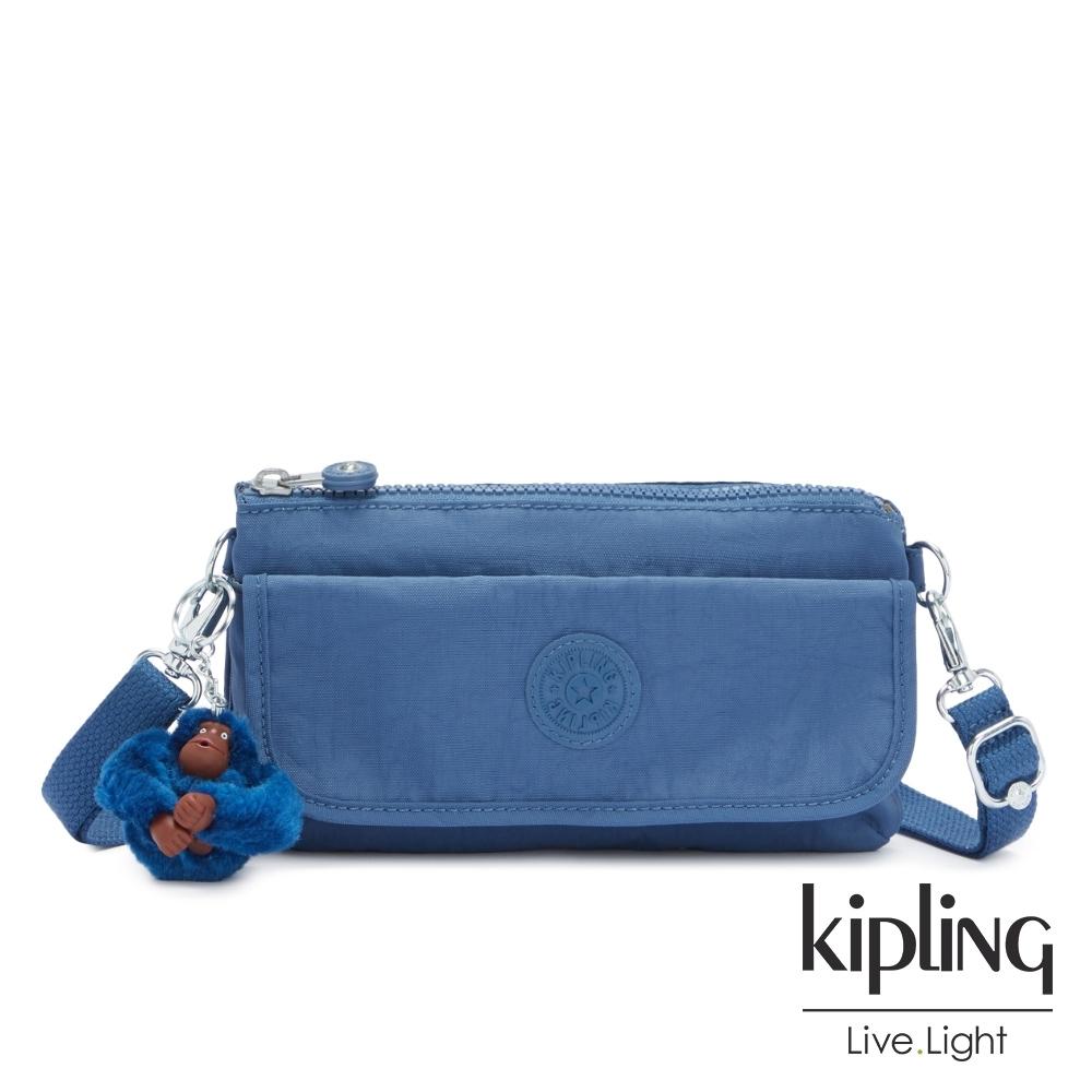 Kipling 優雅天穹藍翻蓋肩背側背包-VECKA STRAP