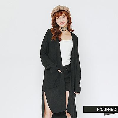 H:CONNECT 韓國品牌 女裝-開襟雙口袋長版針織外套-綠