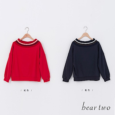 beartwo 運動風寬圓領休閒T恤上衣(二色)