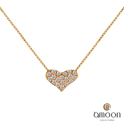 amoon  K金真鑽系列 全心全意 K金鑽石項鍊