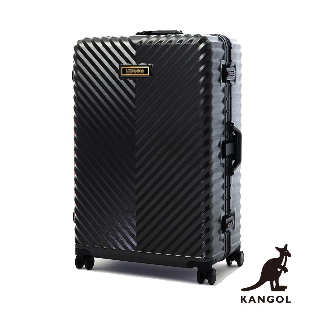 KANGOL-水漾波光 立體V紋髮絲100% PC鋁框輕量行李箱28吋 - 王室深灰