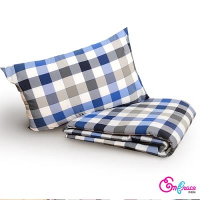 英柏絲 三件組合包 兩色 格紋風格 枕套+枕頭+涼被 實用包 學生 宿舍必備