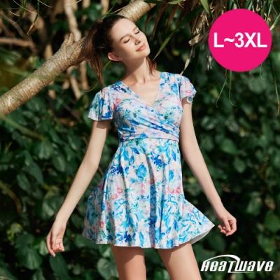 Heatwave熱浪 加大泳裝 萊克連身裙有袖-藍洋花(L-3XL)
