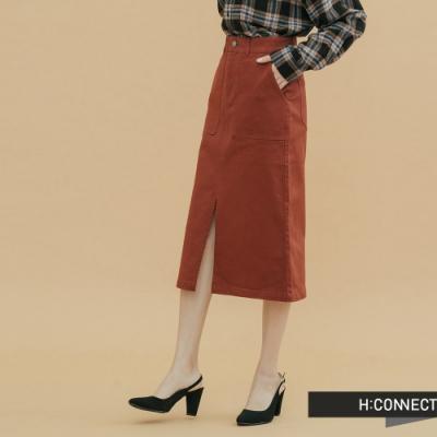 H:CONNECT 韓國品牌 女裝-雙口袋前開岔中長裙-棕