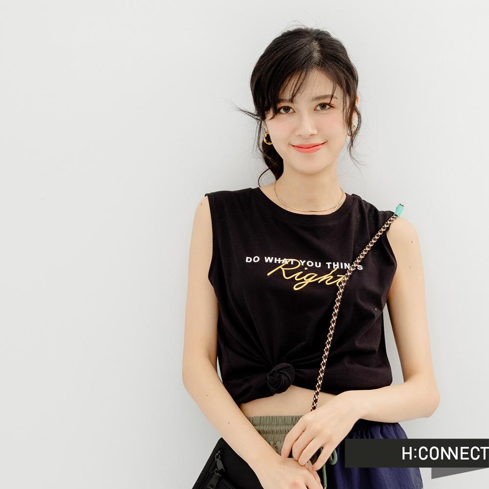H-CONNECT 韓國品牌 女裝-英文個性標語圖印背心-黑色