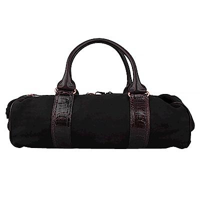 BALENCIAGA 織布手提機車包(咖啡黑底)
