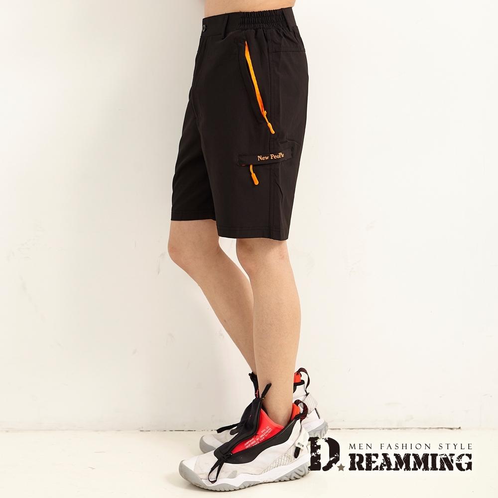 Dreamming 抗暑涼感雙側鬆緊休閒工作短褲 機能 速乾 多口袋-共三色 (黑色)