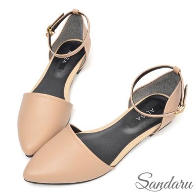 山打努SANDARU-法式簡約繞踝尖頭鞋-卡其