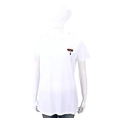 Karl Lagerfeld IKONIK EMOJI 愛心眼刺繡補丁白色純棉T恤