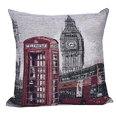 異國街景 棉麻舒適方型抱枕/靠枕 (倫敦巴士)