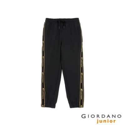 GIORDANO  童裝3M邊條套裝束口褲 - 09 標誌黑