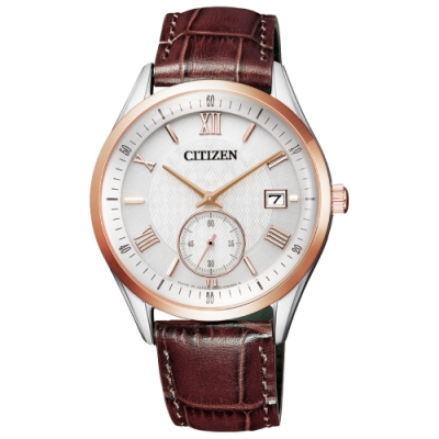 CITIZEN GENT'S光動能日期紳士腕錶-咖啡X白(BV1124-14A)/38mm