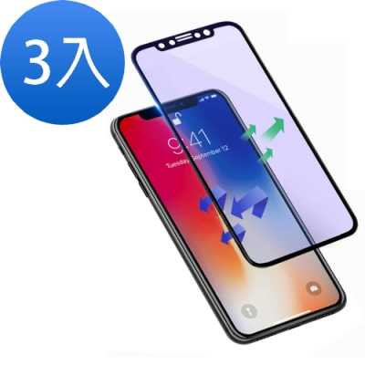 iPhone XS Max 軟邊滿版 藍紫光 9H鋼化玻璃膜-超值3入組