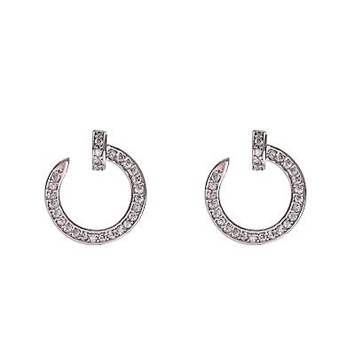 米蘭精品 925純銀耳環-鑲鑽字母C耳環