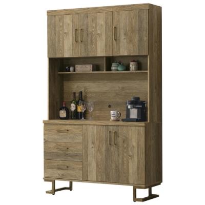 【AT HOME】美式工業4尺鐵藝餐櫃/碗盤櫃/收納櫃(上+下/希爾頓)