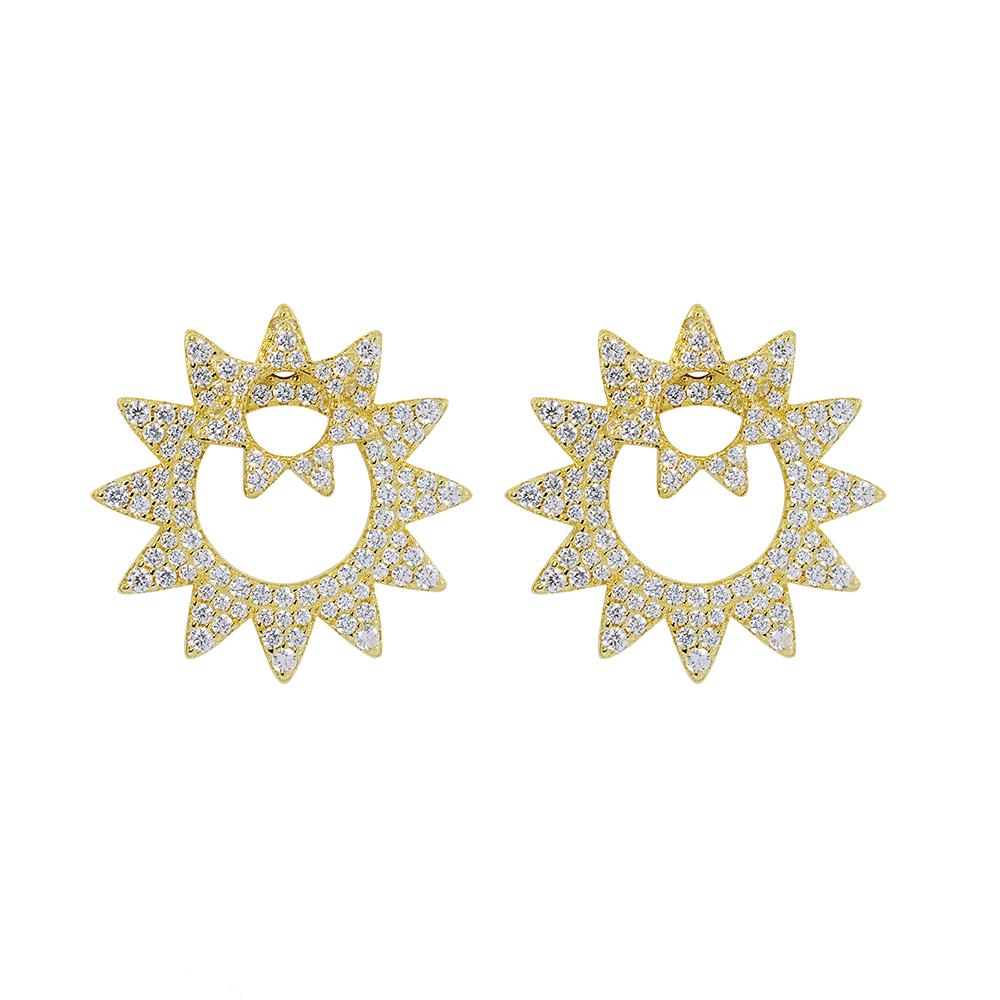 apm MONACO法國精品珠寶 閃耀金色太陽造型耳針式耳環
