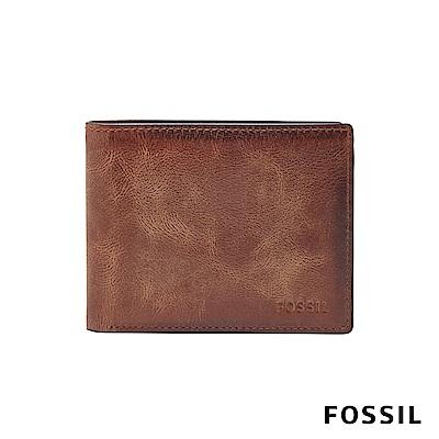 FOSSIL DERRICK 真皮帶翻轉證件格RFID男夾-棕色