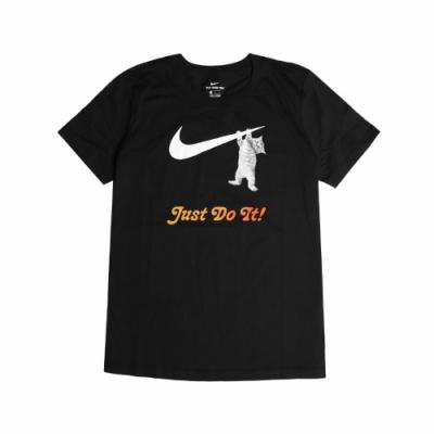 Nike T恤 NSW Swoosh Tee 運動休閒 女款 貓咪 勾勾 圓領 基本款 百搭 黑 白 DA2481010