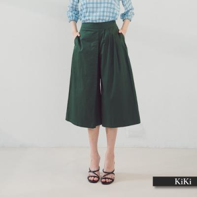 【KiKi】單片交錯設計款棉質寬-長褲(三色/版型適中)